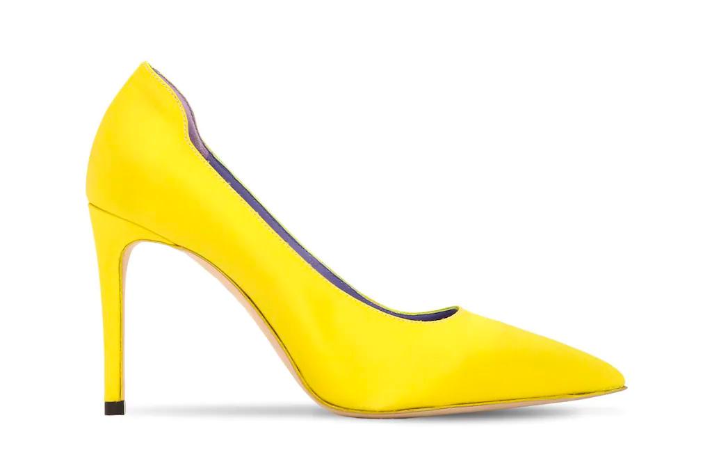 neon heels, yellow, sandals, victoria beckham