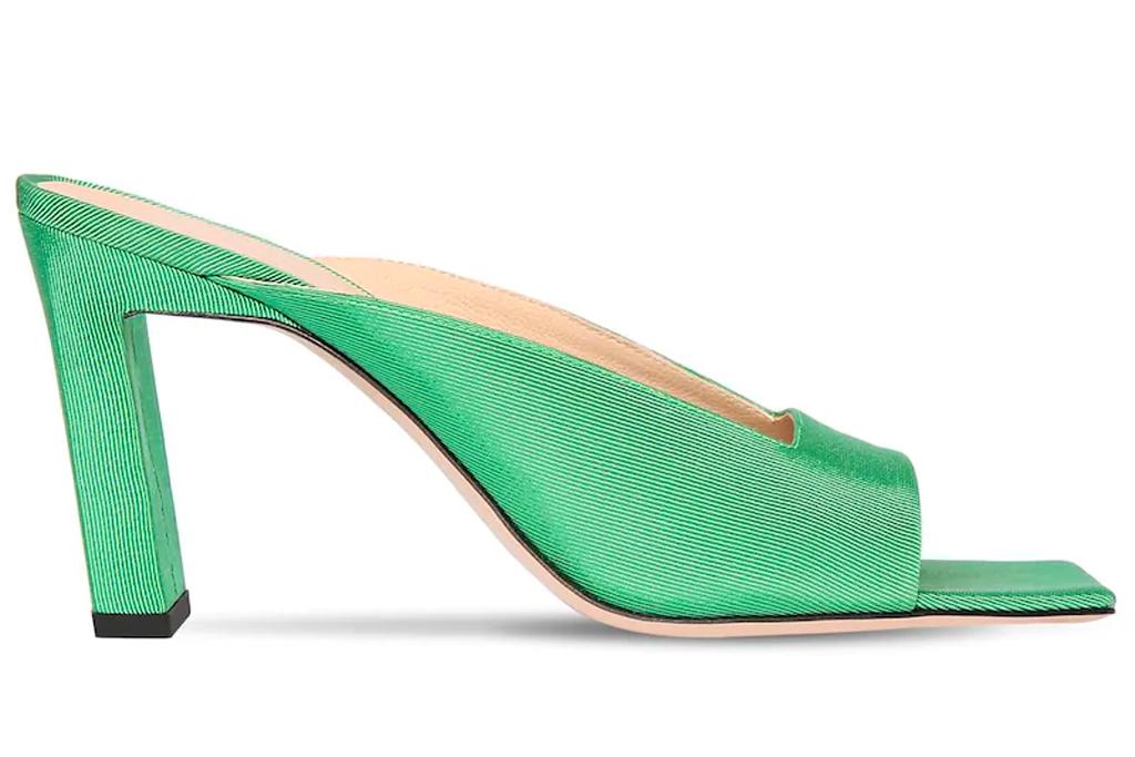 green mules, heels, wandler