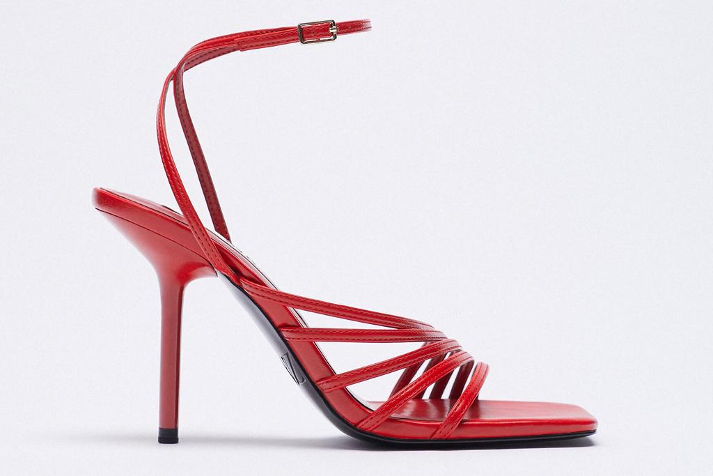 red sandals, heels, zara