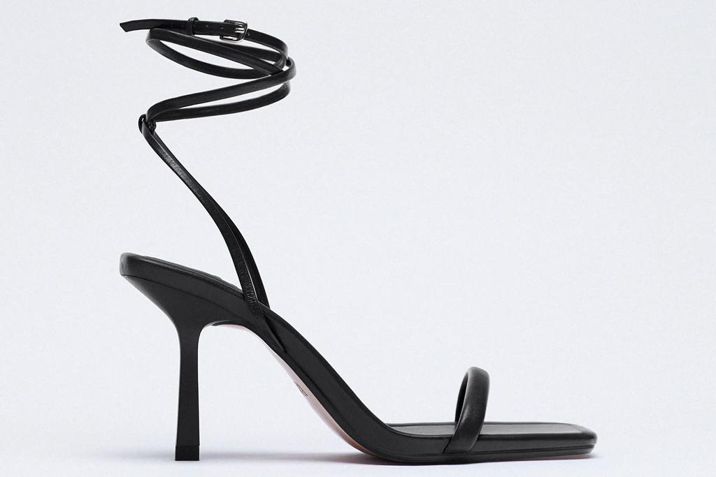 black sandals, wrap, heels, zara