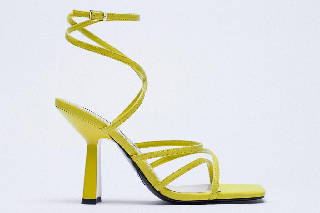 yellow heels, sandals, zara