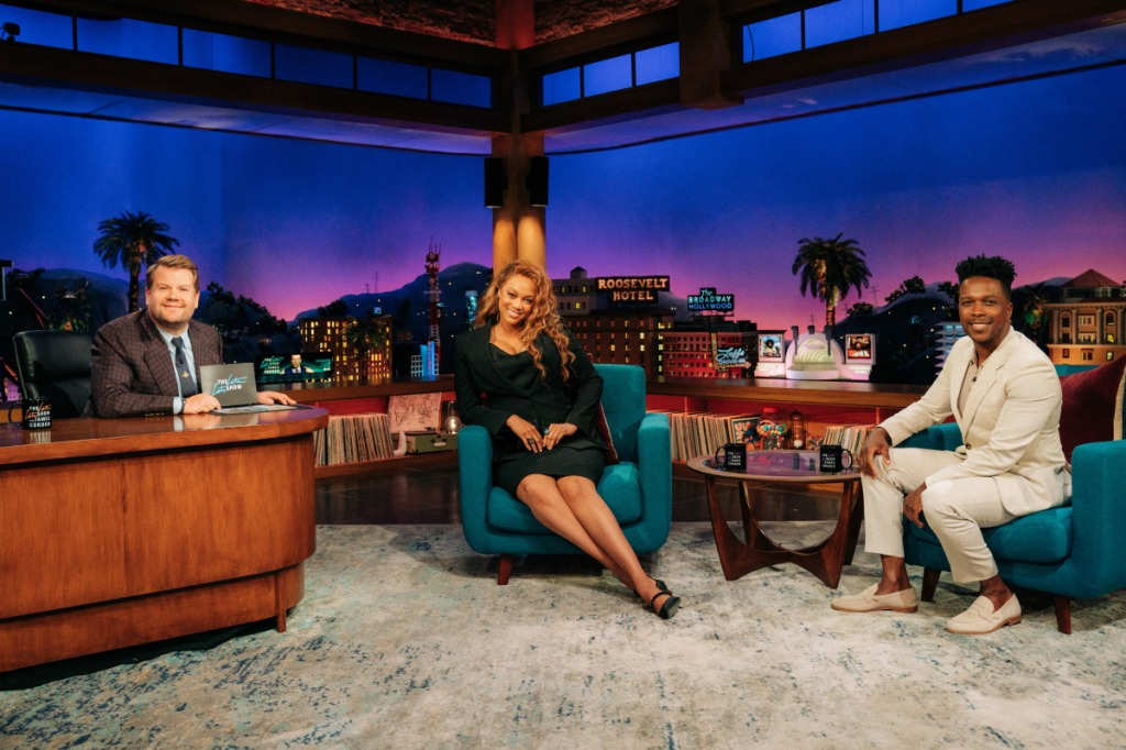 Tyra Banks, Dolce and Gabbana, pointed-toe pumps, black pumps, mesh pumps, suit, James Corden, The Late Late Show with James Corden