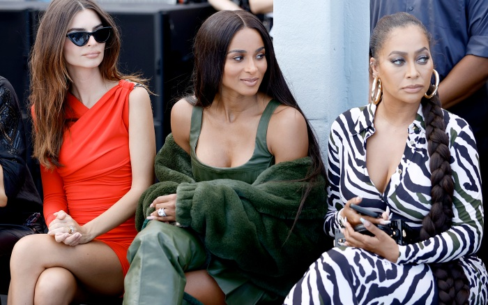 NEW YORK, NEW YORK - SEPTEMBER 08: Emily Ratajkowski, Ciara and La La Anthony attend DUNDAS x REVOLVE NYFW Runway Show Casa Cipriani on September 08, 2021 in New York City. (Photo by Jamie McCarthy/Getty Images for REVOLVE)