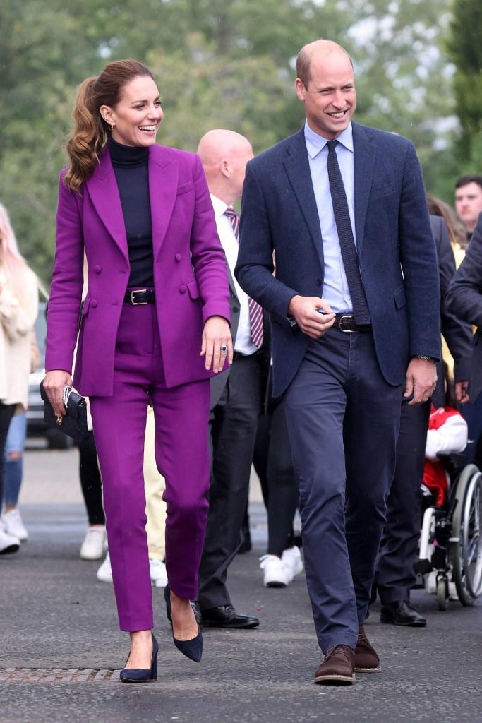 Kate Middleton, Prince William, Emilia Wickstead, Emmy London, purple suit, navy pumps, block heel pumps, pointed-toe pumps, Northern Ireland, Derry