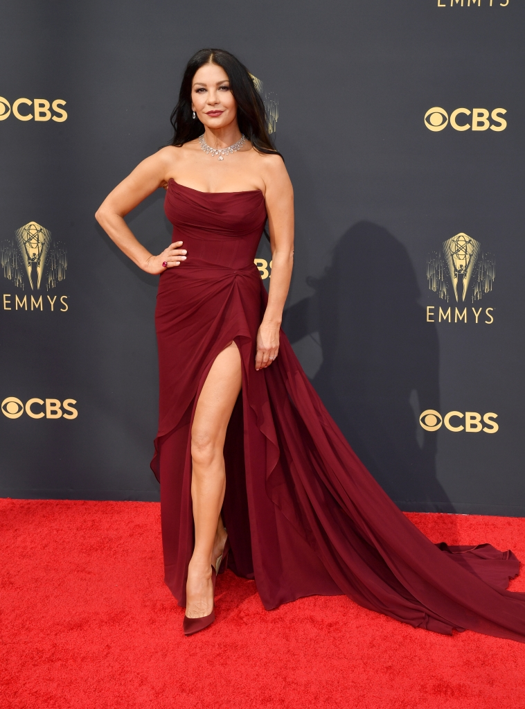 Catherine Zeta-Jones, Christian Louboutin, Emmy Awards, Cristina Ottaviano, Lorraine Schwartz, red carpet