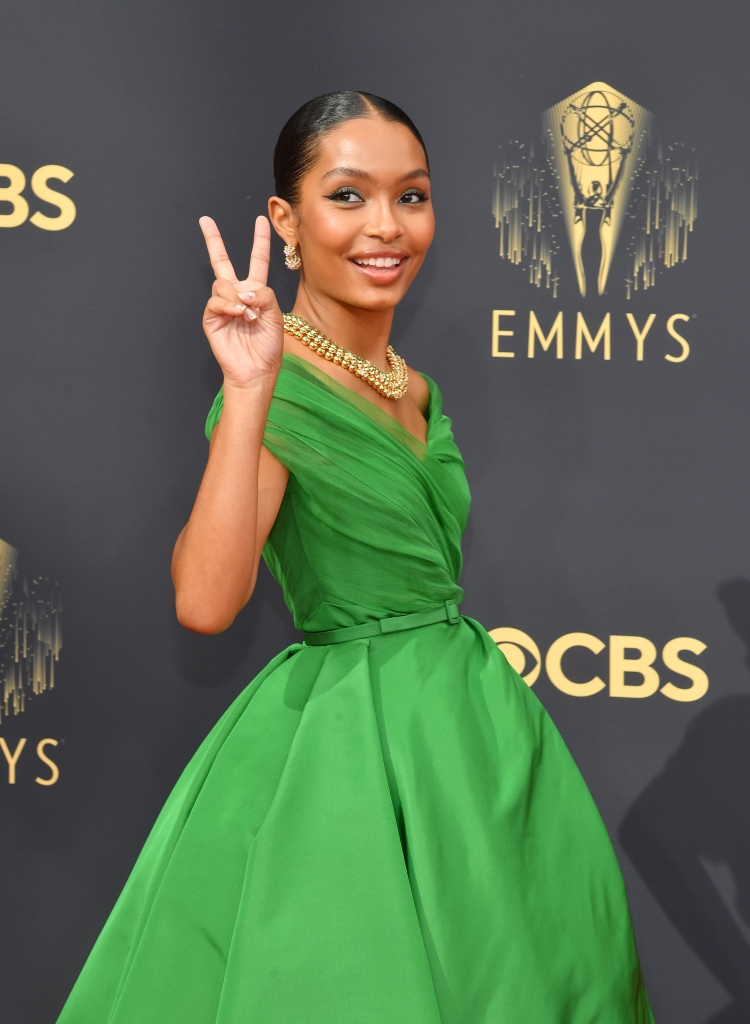Yara Shahidi at the 73rd Primetime Emmy Awards held at L.A. Live on September 19, 2021.