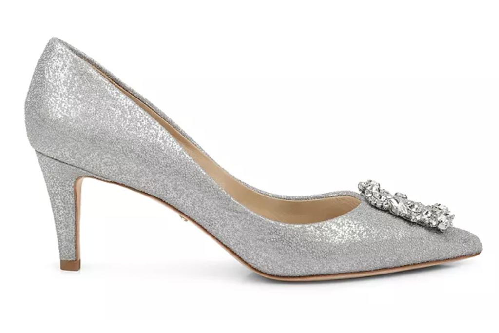 Badgley Mischka Carrie Crystal-Embellished Kitten Heel Pumps