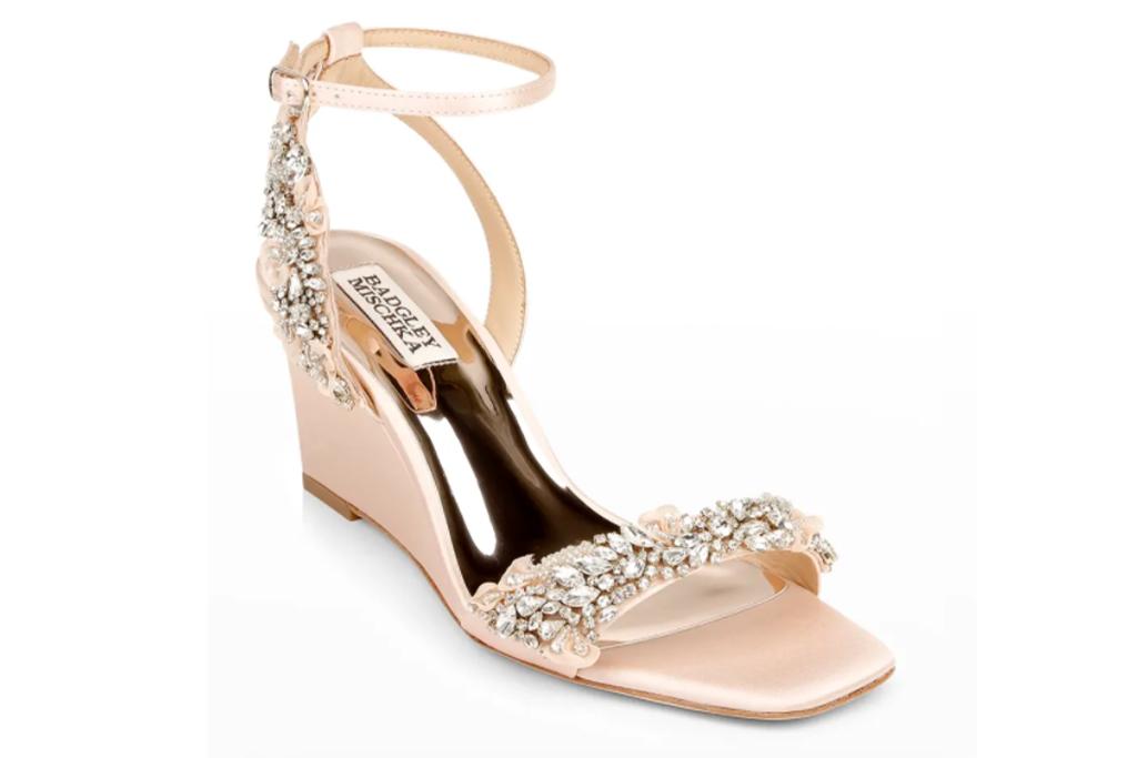 Badglet Mischka Blakeley Crystal Satin Wedge Sandals