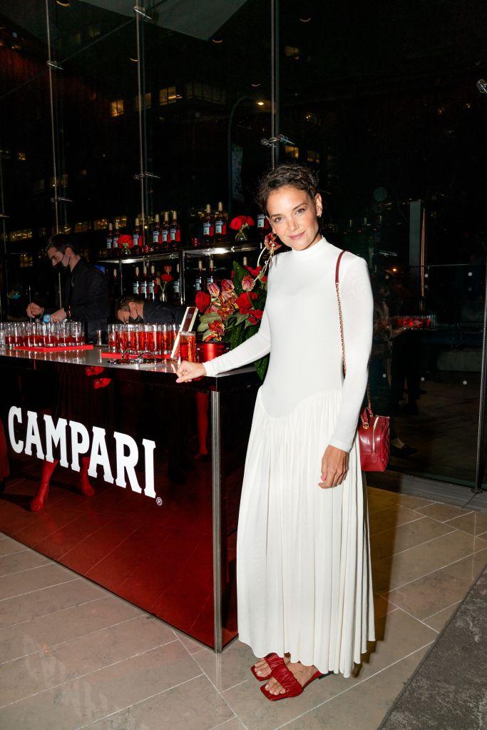 Katie Holmes, new york film festival 2021, campari, white dress, khaite, red sandals