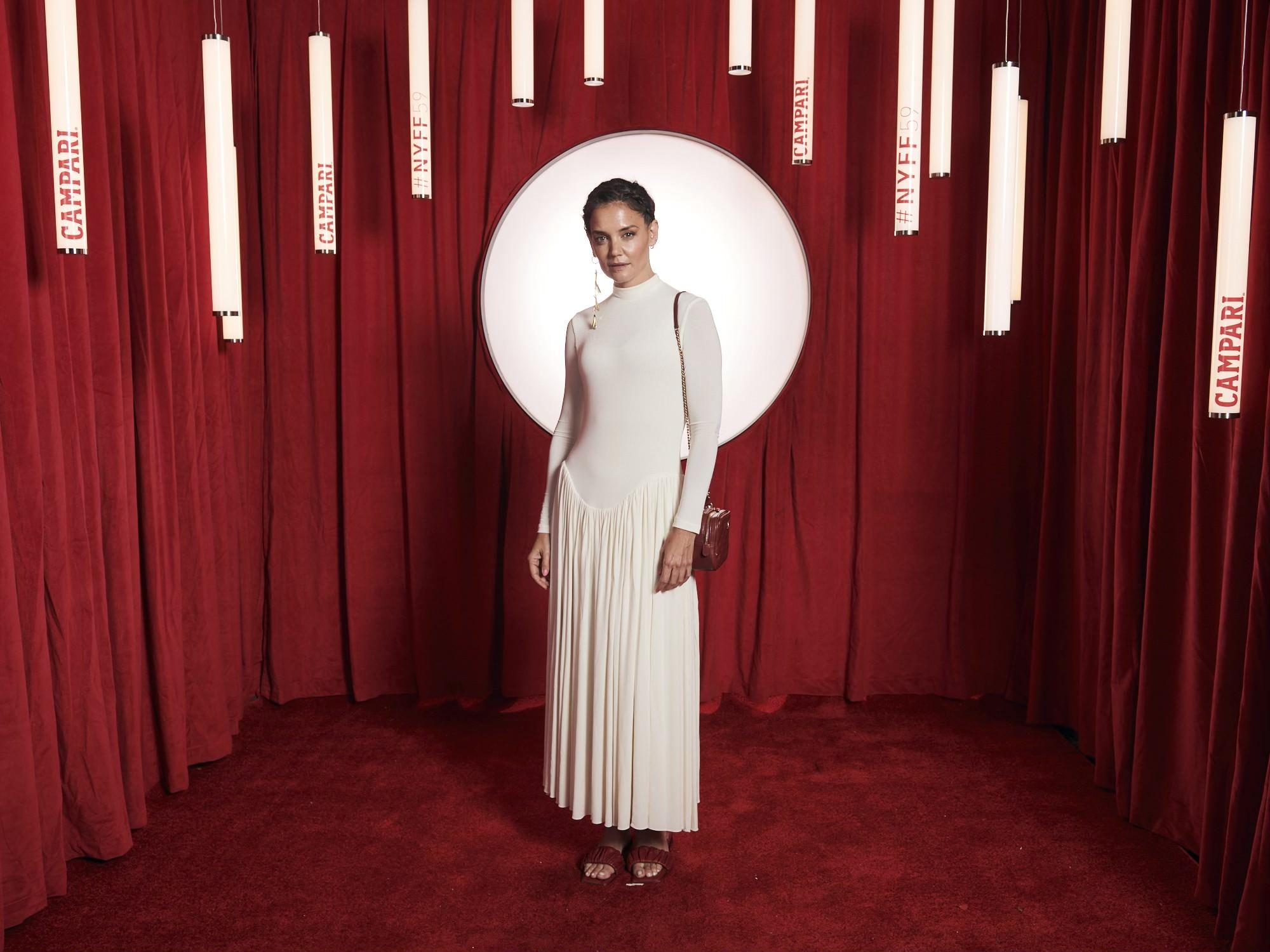 Katie Holmes, khaite dress, red sandals, ny film festival 2021