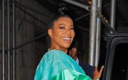 Gabrielle Union, green dress, platform heels,