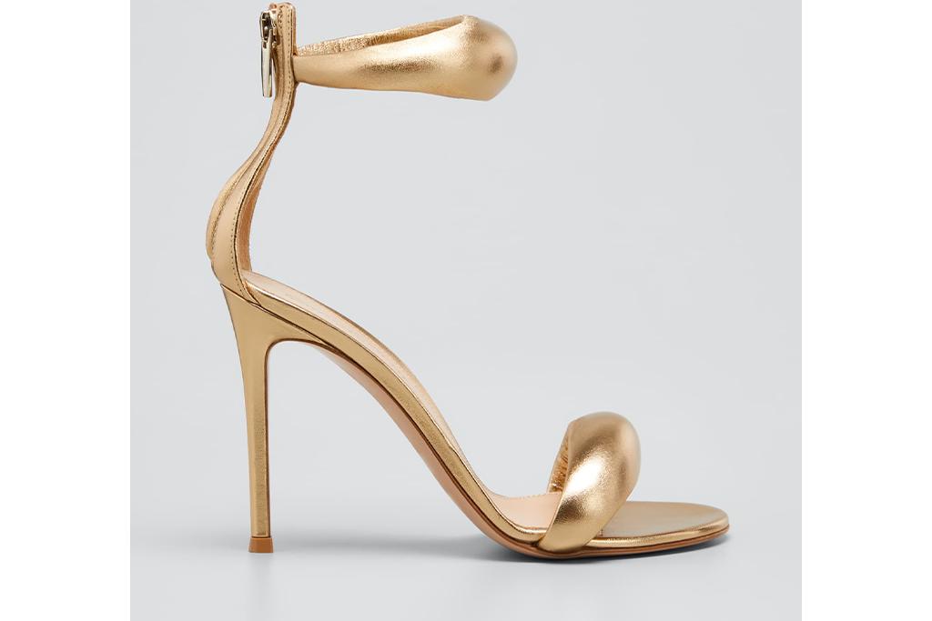 Gianvito Rossi Metallic Napa Ankle-Cuff Stiletto Sandals
