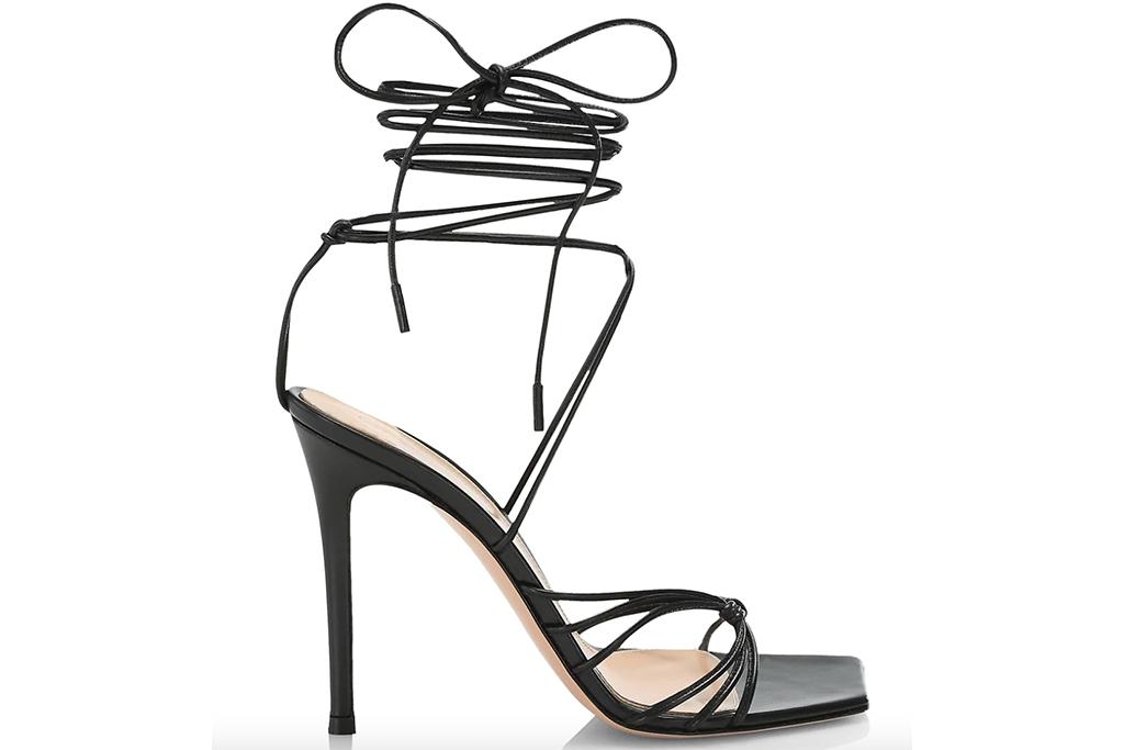 Gianvito Rossi Ankle-Wrap Leather Stilleto Sandals