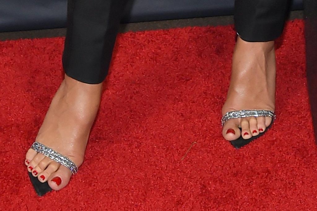 Heidi Klum, Oscar de la Renta, sandals, crystal sandals