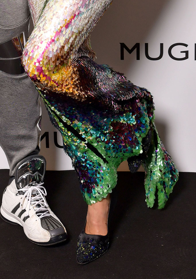 sequin dress, embellished pumps, Irina Shayk, Manfred Thierry Mugler at the Thierry Mugler: Couturissime during Paris Fashion Week, shoes, pumps