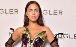Irina Shayk, sequin dress, embellished pumps,