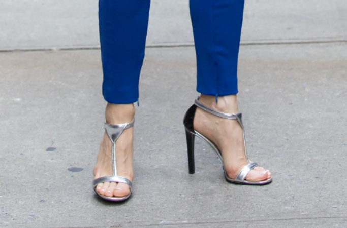 Jessica Chastain, silver heels, blue jumpsuit, NYC
