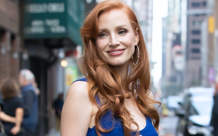 Jessica Chastain, NYC, blue jumpsuit, silver heels