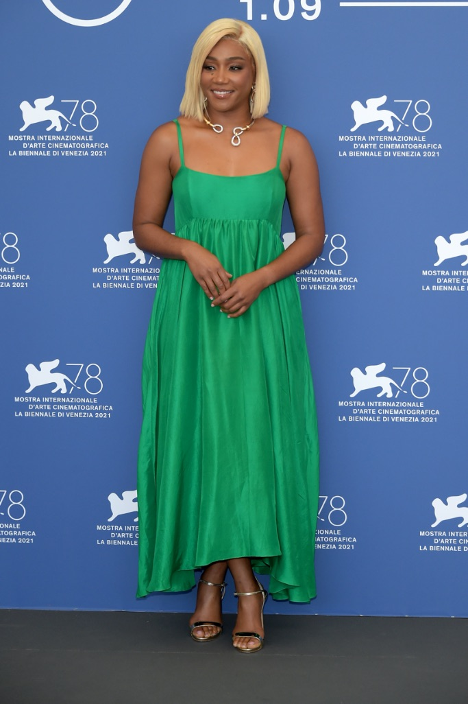 Tiffany Haddish, Venice, green dress, gold heels
