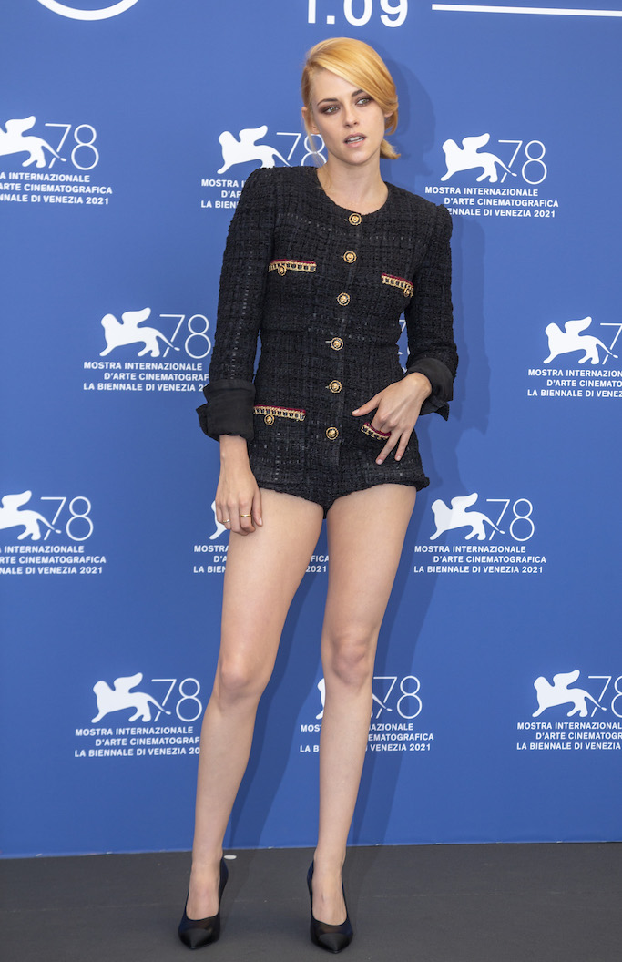 Kristen Stewart poses during a photocall at the 78th Venice Film Festival