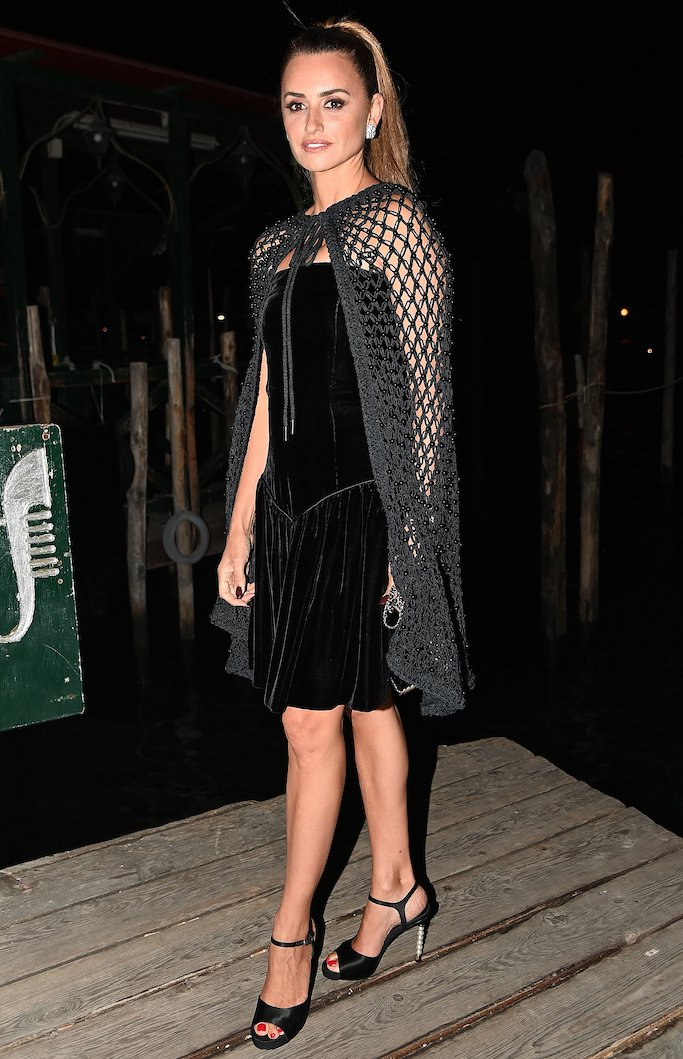 Penelope Cruz arrives at the Yves Saint Laurent Party during the 78th Venice International Film Festival.