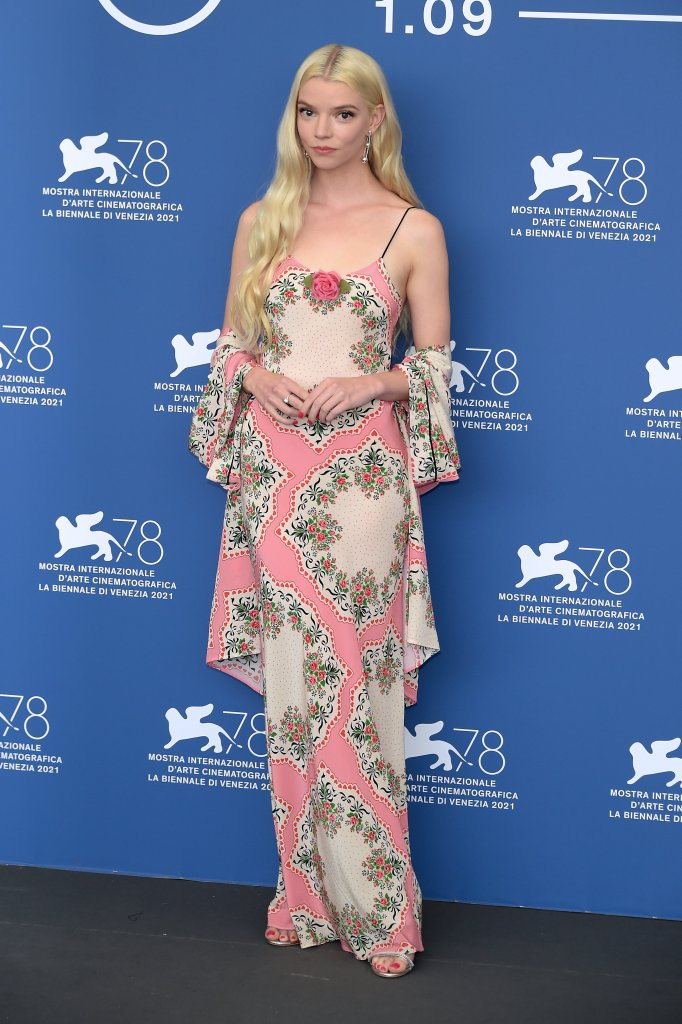 anya taylor joy, last night in soho, venice film festival 2021, rodarte floral pink dress, giuseppe zanotti harmony sandals