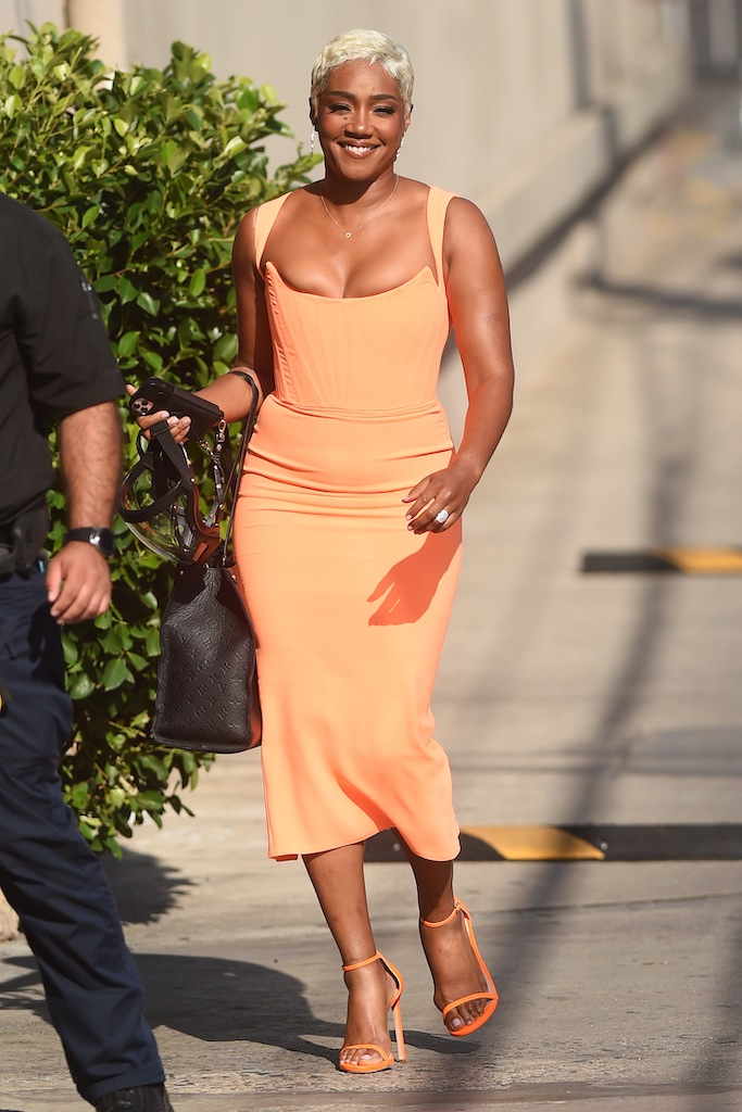 Tiffany Haddish seen arriving at Jimmy Kimmel Live!.
