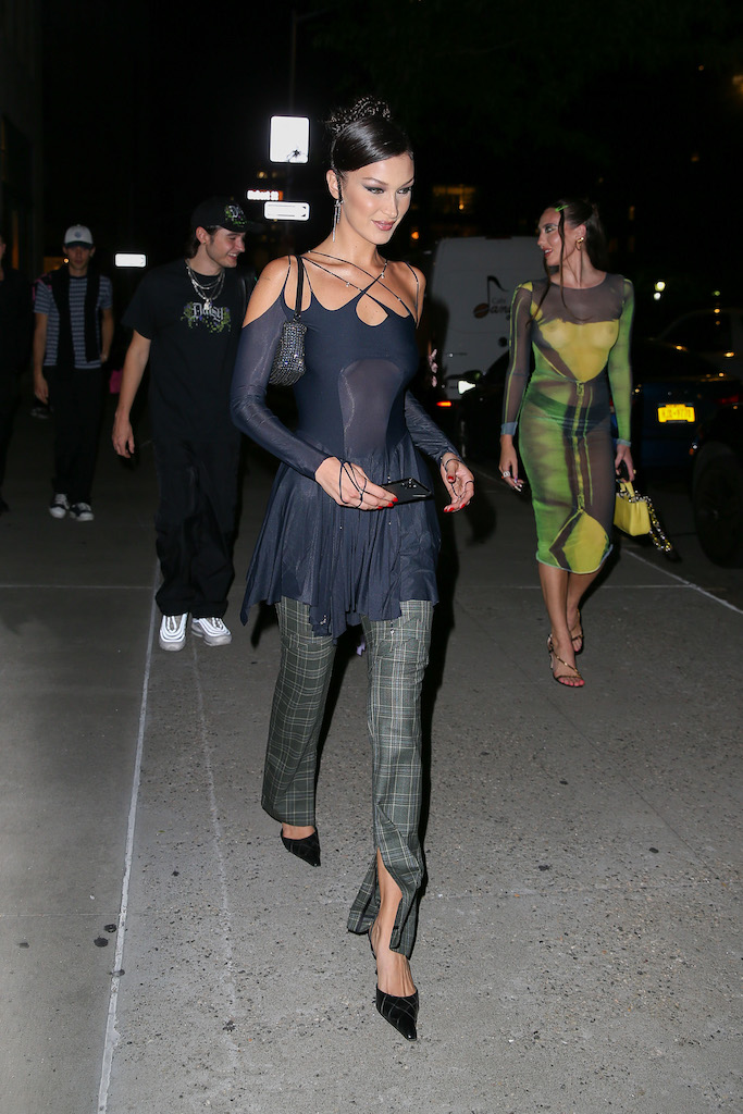 Bella Hadid steps out with friends during a New York Fashion Week