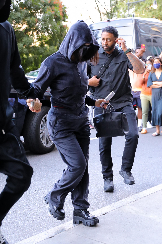 Kourtney Kardashian, Prada, lug-sole boots, sweatshirt, New York City
