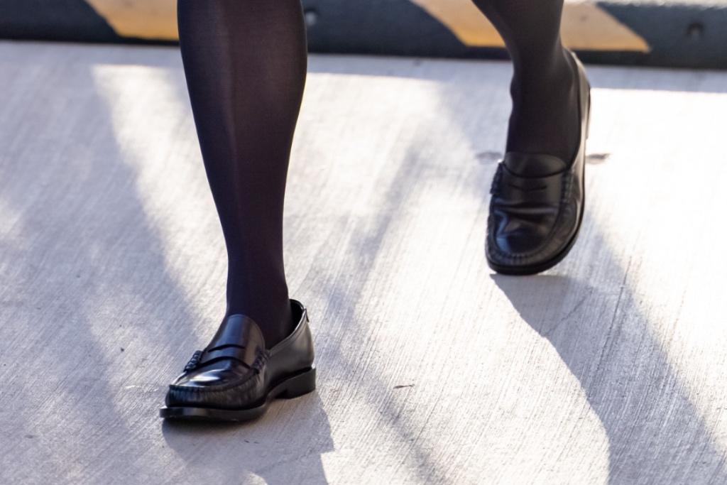 Julianne Moore, LA, loafers, black ysl dress