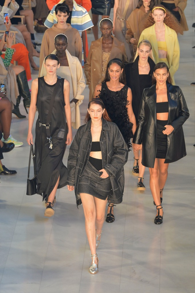 Gigi Hadid, Max Mara, Milan Fashion Week, silver sandals, double denim, headband, Spring 2022