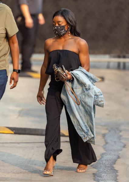 Simone Biles, jimmy kimmel, black top, trousers, clear heels, pvc, la