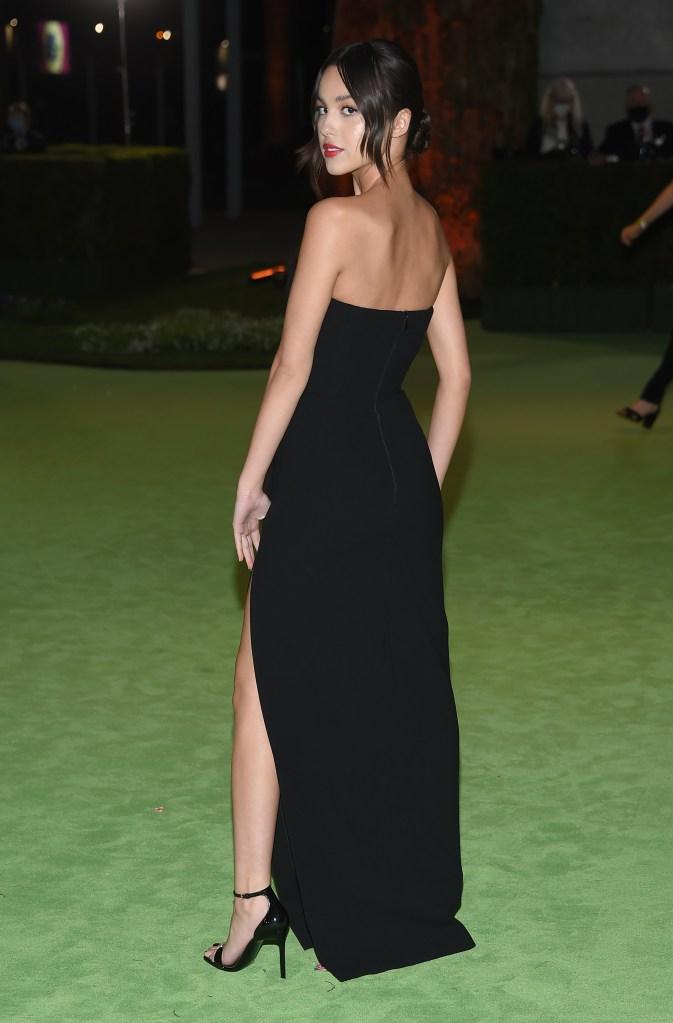 Olivia Rodrigo, Saint Laurent, strapless dress, patent leather sandals, heeled sandals, Academy Museum of Motion Pictures