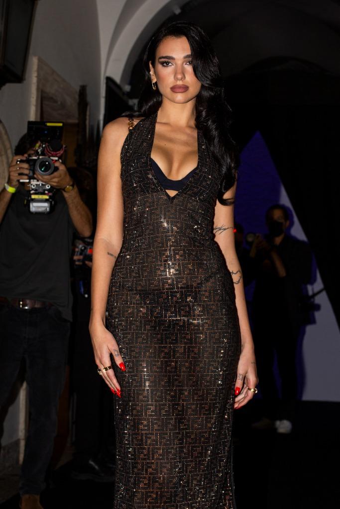 Dua Lipa, Versace, Fendi, Milan Fashion Week, runway show