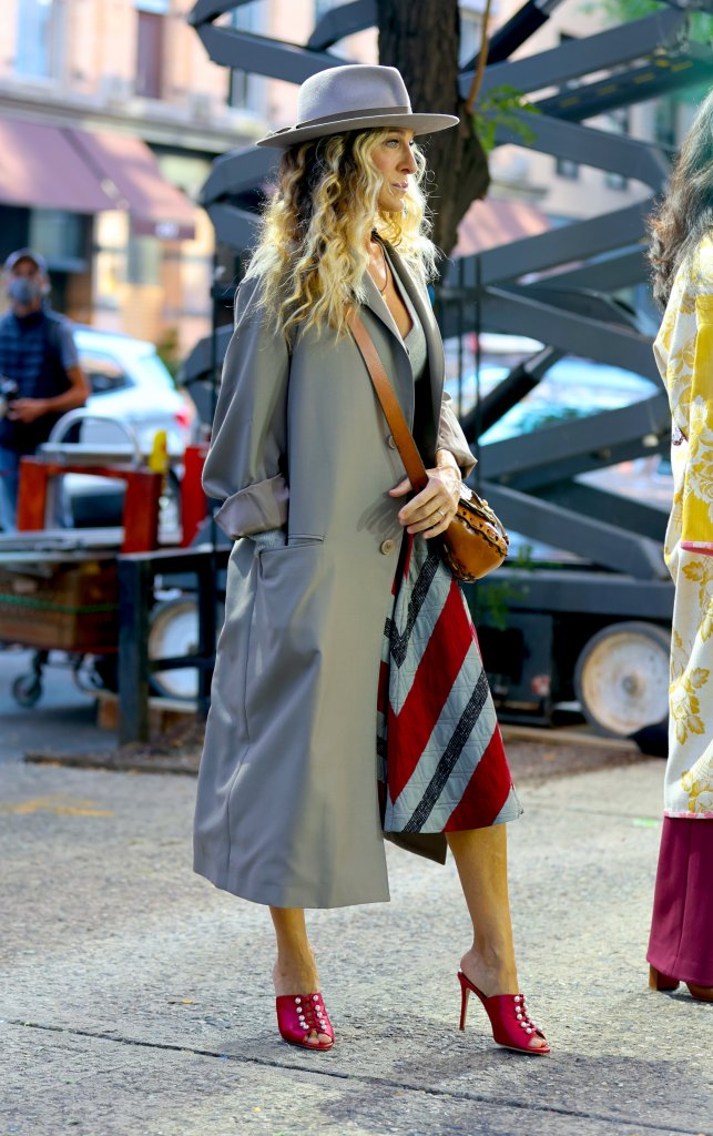 Sarah Jessica Parker, mules, red mules, silk mules, and just like that