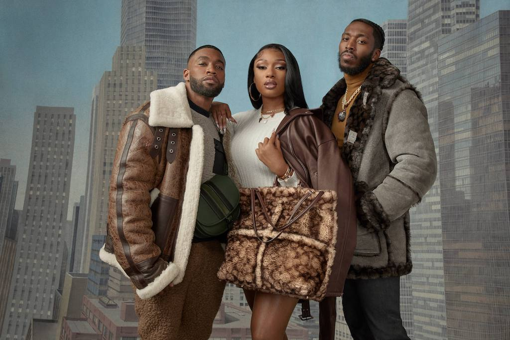 Megan Thee Stallion and friends in campaigns for Coach's shearling collection.