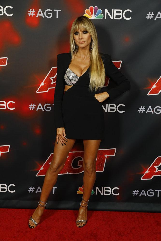 "dolce and gabbana bralette dress, sandals, AMERICA'S GOT TALENT -- ""Semi Finals Results 2"" Episode 1618 -- Pictured: Heidi Klum -- (Photo by: Trae Patton/NBC)"
