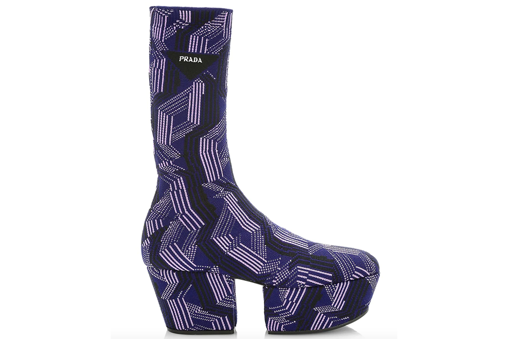 Prada Graphic-Print Jacquard Knit Platform Boots