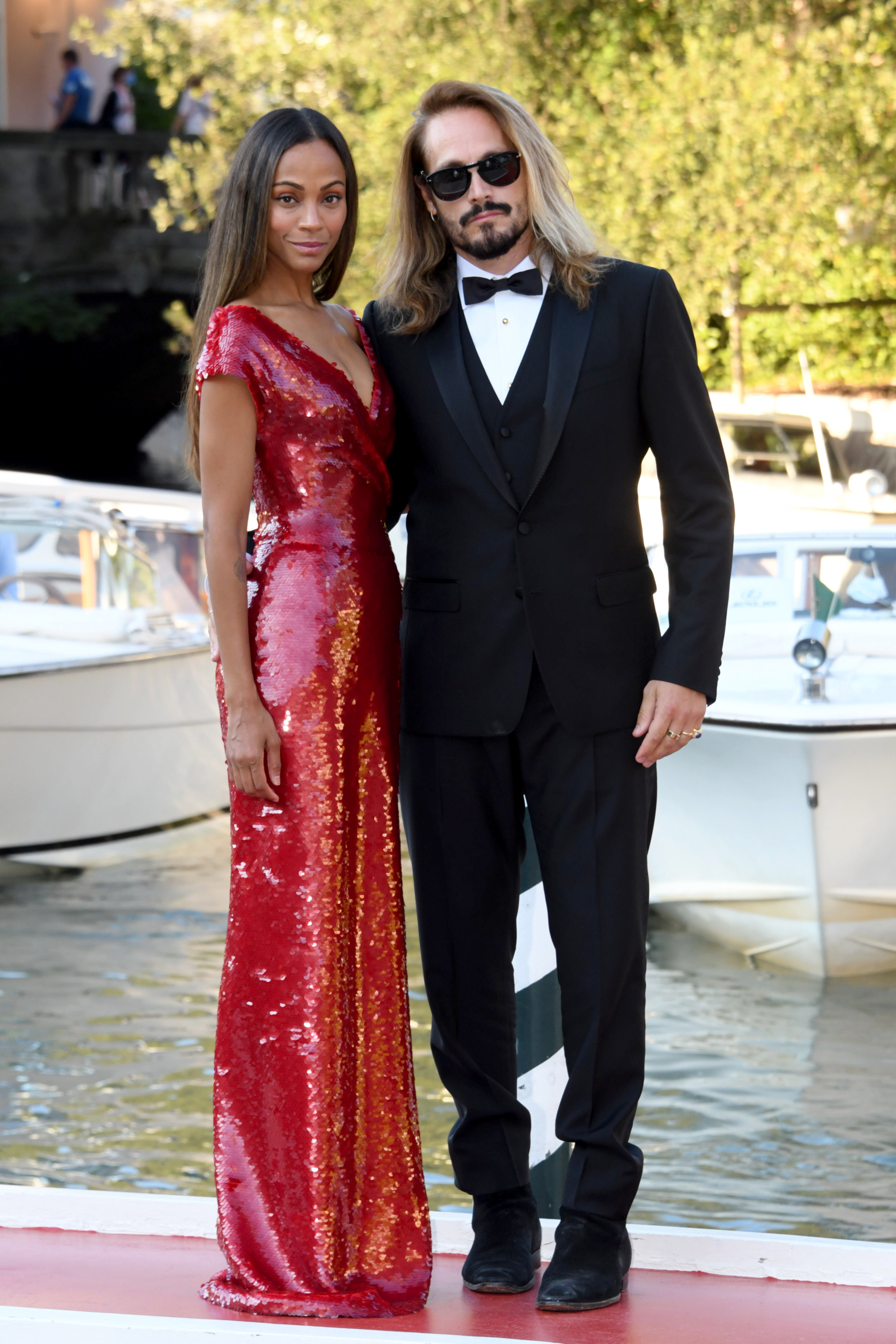 78th Venice Film Festival 2021: Arrivals At The DarsenaPictured: Zoe Saldana,Marco Perego Ref: SPL5251021 020921 NON-EXCLUSIVE Picture by: IPA / SplashNews.com Splash News and Pictures USA: +1 310-525-5808 London: +44 (0)20 8126 1009 Berlin: +49 175 3764 166 photodesk@splashnews.com World Rights, No France Rights, No Italy Rights, No Spain Rights