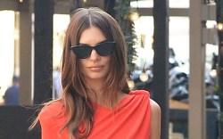 Emily Ratajkowski wears a red dress