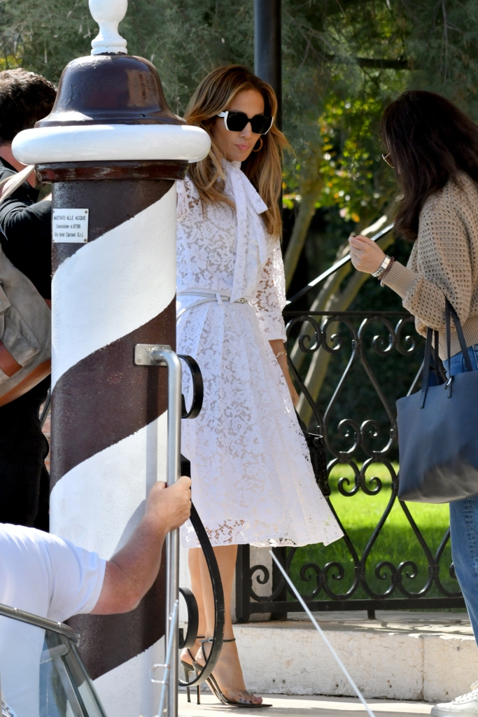 valentino white lace dress, gianvito rossi PVC pumps, Jennifer Lopez arrives in Venice for Venice Film Festival 2021.Pictured: Jennifer LopezRef: SPL5253422 090921 NON-EXCLUSIVEPicture by: Venezia2020/IPA / SplashNews.comSplash News and PicturesUSA: +1 310-525-5808London: +44 (0)20 8126 1009Berlin: +49 175 3764 166photodesk@splashnews.comWorld Rights, No France Rights, No Italy Rights, No Spain Rights