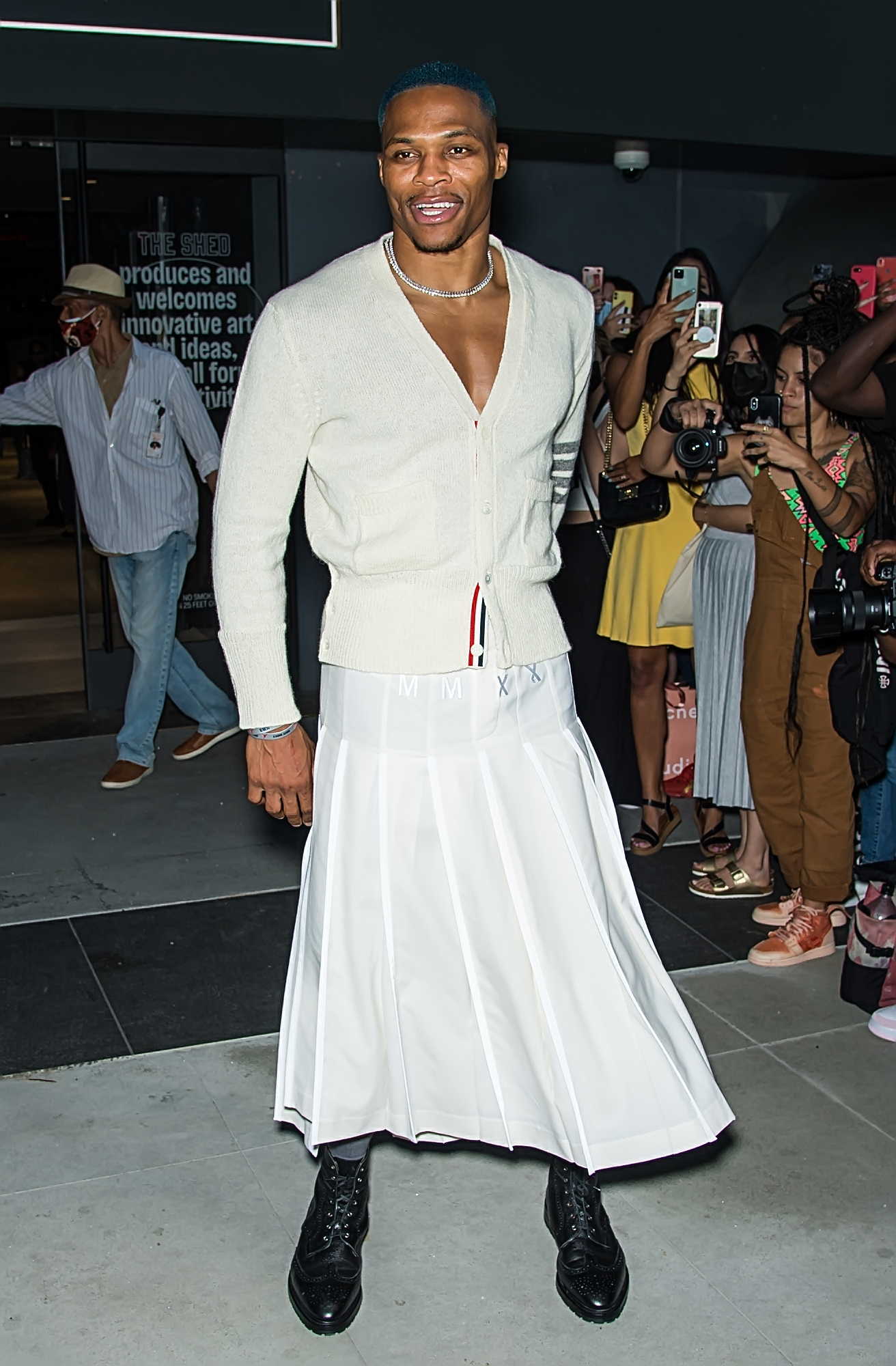 Celebrities are seen at Thom Browne Spring 2022 Collection during New York Fashion Week in New York CityPictured: Russell Westbrook Ref: SPL5255045 110921 NON-EXCLUSIVE Picture by: Ouzounova / SplashNews.com Splash News and Pictures USA: +1 310-525-5808 London: +44 (0)20 8126 1009 Berlin: +49 175 3764 166 photodesk@splashnews.com World Rights