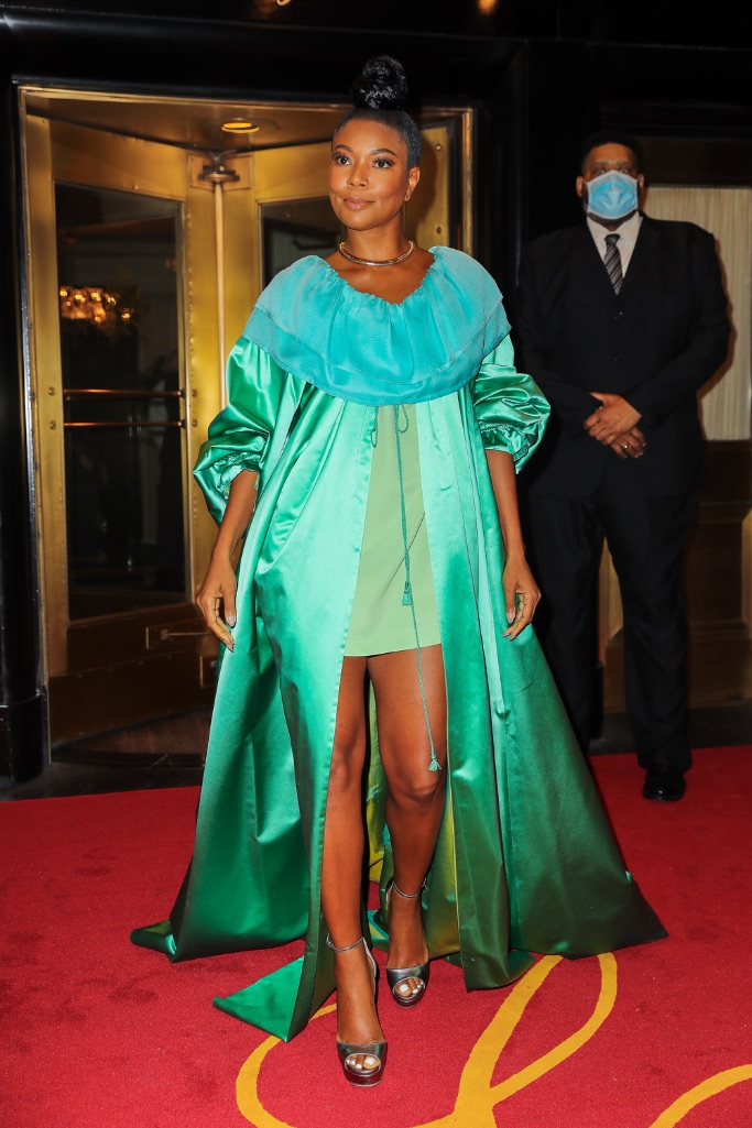 Gabrielle Union, green dress, Isaac Mizrahi, platform heels, NYC