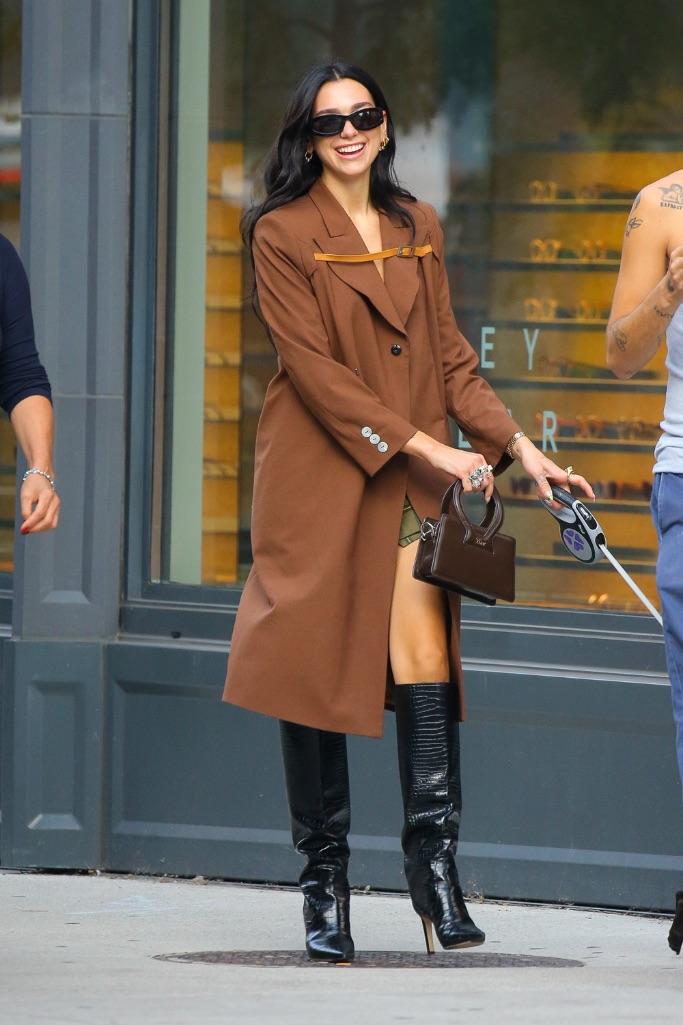 Dua Lipa, NYC, knee high boots, brown coat