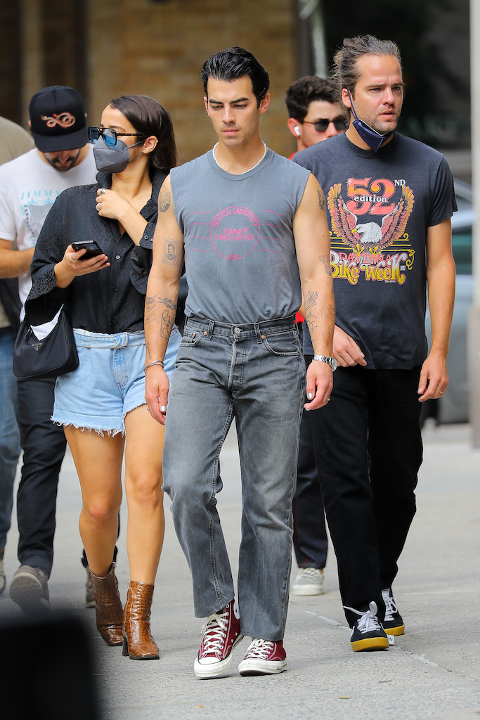 Actor and singer Joe Jonas walking around with a group of pals in Tribeca, New York.