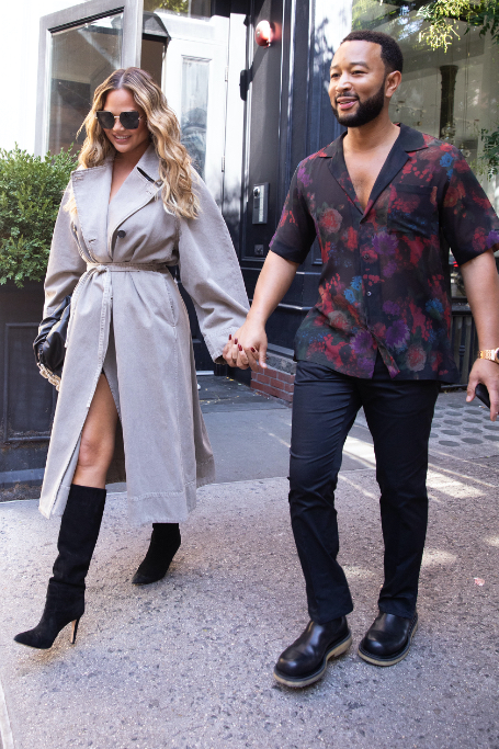 chrissy teigan, john legend, trench coat, slouchy boots, nyc