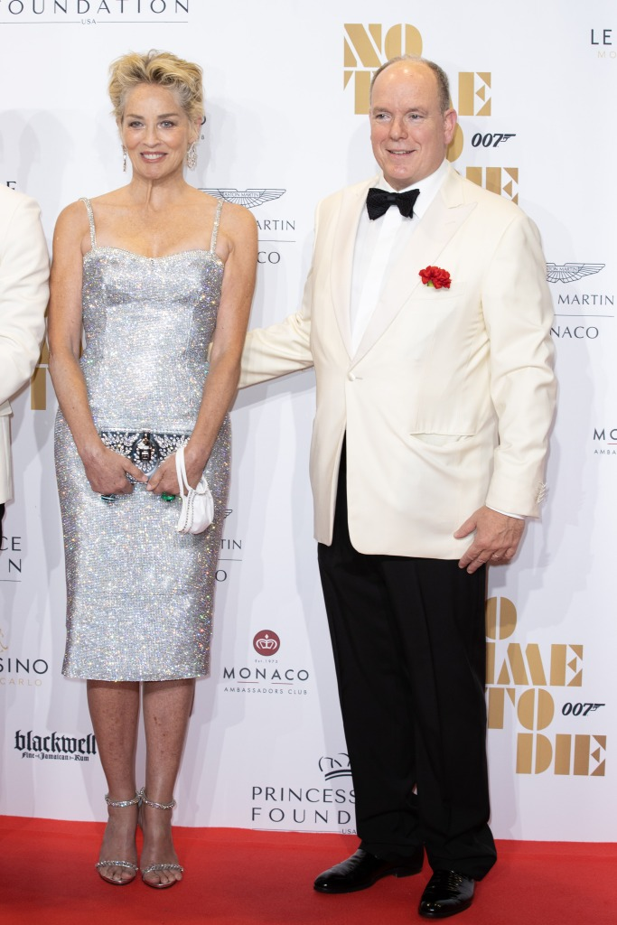 'No Time to Die' movie premiere at the Monte-Carlo Opera. This charity screening is organised by the Princess Grace Foundation to support emerging talents in theater, dance and film. For the sum of $ 2,500, a privileged few will be able to attend the evening, with a screening of the film at the opera followed by a dinner in the lounges of the Casino de Monte-Carlo. The opportunity also to pay tribute to Roger Moore who played the secret agent 7 times.Pictured: Sharon Stone,HSH Prince Albert II of MonacoRef: SPL5261757 290921 NON-EXCLUSIVEPicture by: SplashNews.comSplash News and PicturesUSA: +1 310-525-5808London: +44 (0)20 8126 1009Berlin: +49 175 3764 166photodesk@splashnews.comWorld Rights, No Argentina Rights, No Belgium Rights, No Czechia Rights, No Finland Rights, No France Rights, No Germany Rights, No Italy Rights, No Mexico Rights, No Peru Rights, No Portugal Rights, No Spain Rights, No Switzerland Rights, No United Kingdom Rights