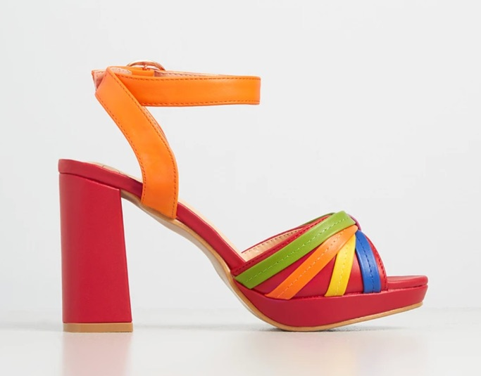 Ribbons in Rainbow Platform Heel