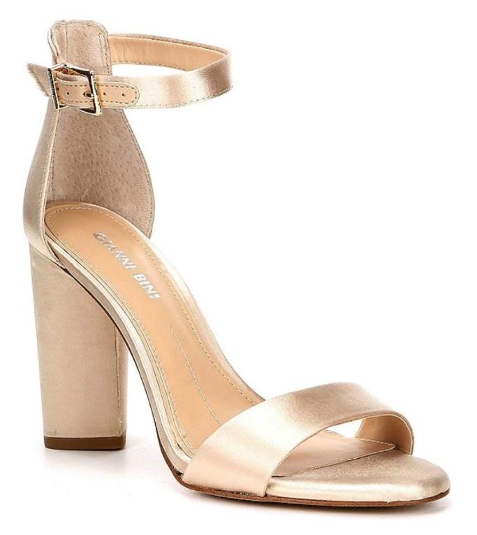 Gianni Bini Joenah Satin Ankle Strap Block Heel Dress Sandals