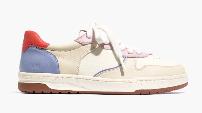 Court Sneakers in Colorblock Leather and Nubuck